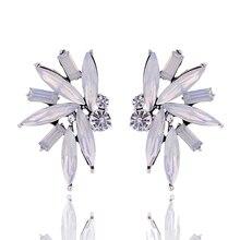 Colorful Acrylic Opal Stone Stud Earrings Sparkling Rhinestone Silver Color Metal Piercing Earrings Women Wedding Jewelry 2017