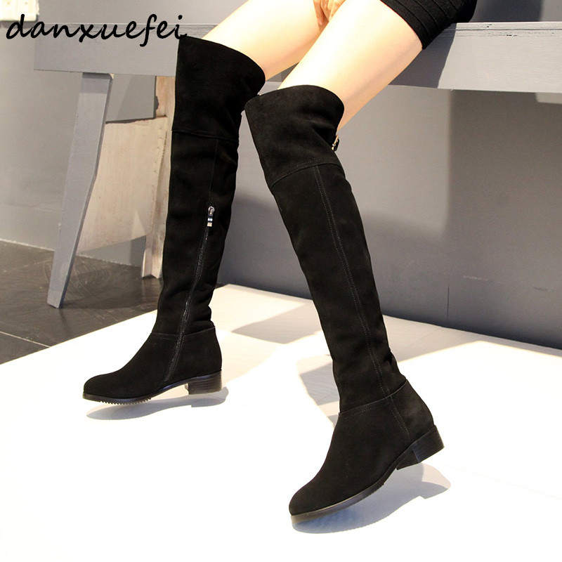 Womens Genuine Leather Winter Over The Knee Boots brand Designer Metal Buckle Cold Weather Flats Long Boots Shoes for Women HotWomens Genuine Leather Winter Over The Knee Boots brand Designer Metal Buckle Cold Weather Flats Long Boots Shoes for Women Hot