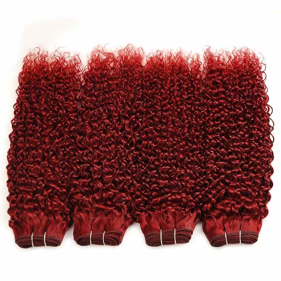 Estrela brilhante Burgundy Red Pacotes Com Fecho de 100% Cabelo Humano Cabelos Coloridos 4 Nonremy Malaio Pacotes Encaracolados Excêntricas Com Fecho de Rendas