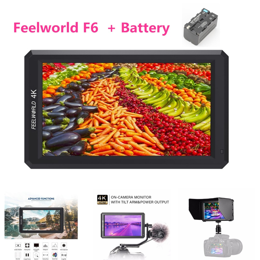 Feelworld F6 Professional Grade 5.7IPS 4K HDMI Camera-top HD Monitor for DSLR or Mirrorless Camera With Battery цена