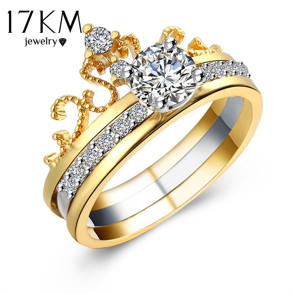 17km Hot Sale Fashion Luxury Gold Color Crystal Zircon Crown Women