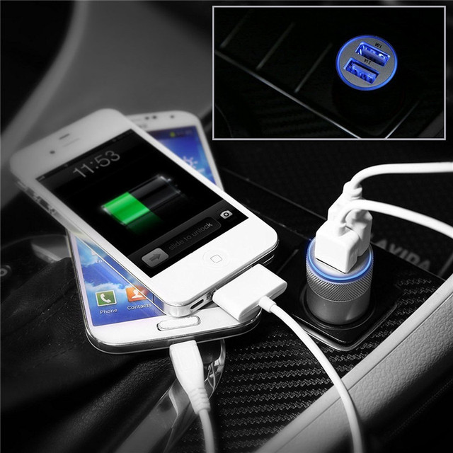 Universal 2.1A Car Charger 2 Port Mini Dual USB Car Charger Adapter for ipone5 5s 6 7 plus Samsung Galaxy S5 S6 HTC Mobile Phone