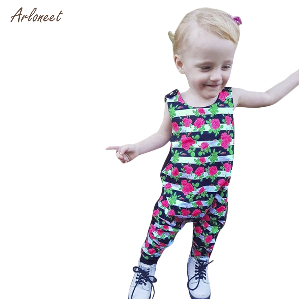 ARLONEET Cute Kids Toddler Baby Floral Striped Girls Outfits Clothes Romper Jumpsuit _F11