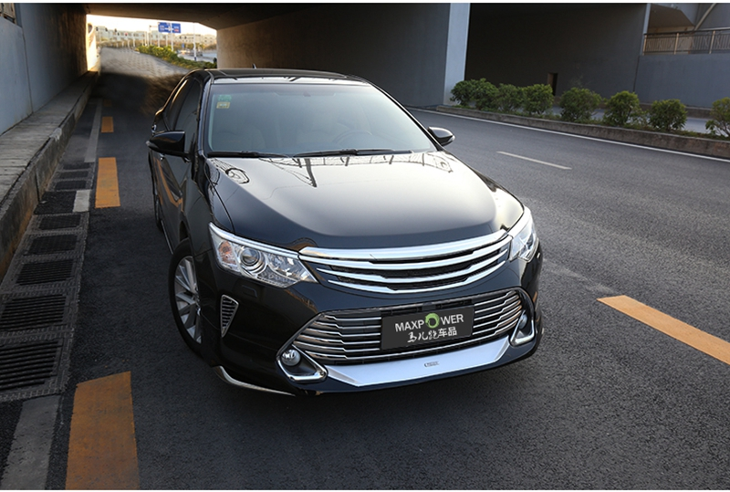 MONTFORD For Toyota Camry 2015 2016 Auto ABS Chrome Grille Modify Front Grilles Shiny Front Center Mesh Grills Car Accessories high quality for toyota highlander 2015 2016 car cover bumper engine abs chrome trims front grid grill grille frame edge 1pcs