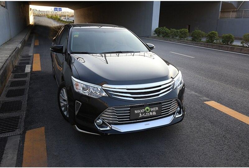 MONTFORD Pour Toyota Camry 2015 2016 Auto ABS Chrome Grille Modifier Avant Grilles Brillant Avant Center Mesh Grills Voiture Accessoires