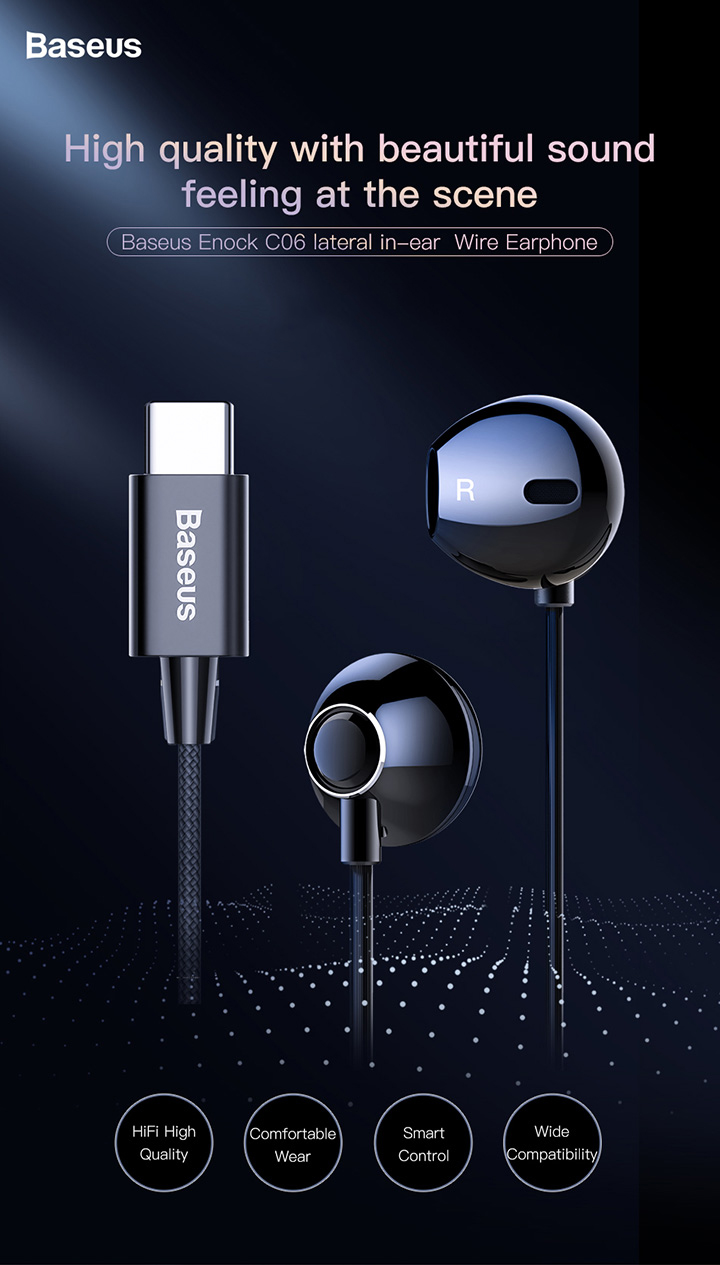 US $9 9 20% OFF|Baseus C06 USB Type c Earphone Stereo Sound Earbuds With  mic for Xiaomi mi 9 8 se note 3 Huawei p30 pro mate 20 pro Oppo Find X-in