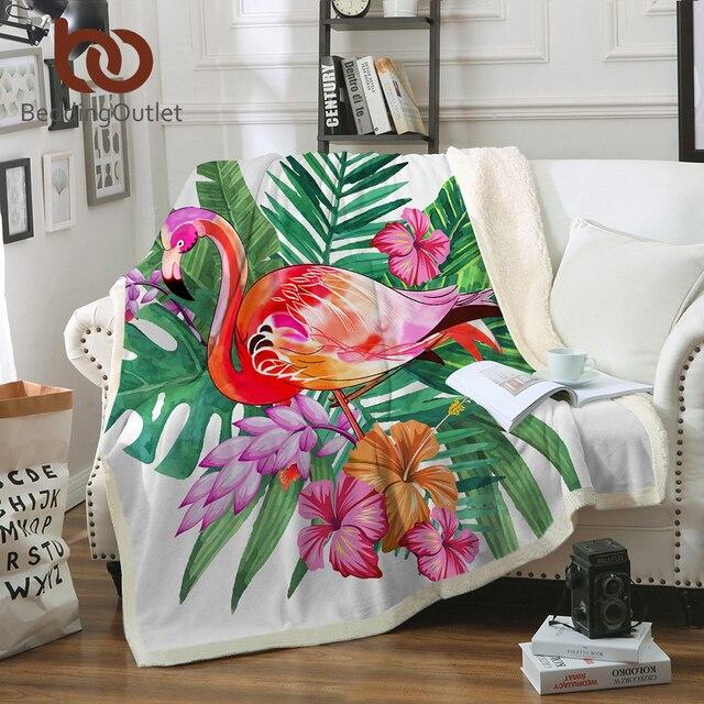 BeddingOutlet Flamingo Velvet Plush Throw Blanket Tropical Plant Girls Bedding Sherpa Blanket for Couch Flower battaniye