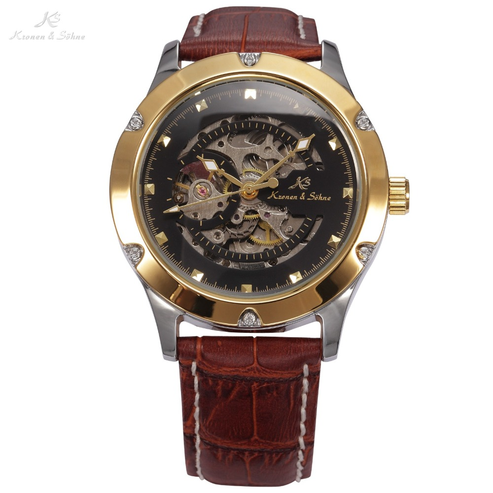 KS NAVIGATOR Series Golden Case Luxury Brown Leather Strap Skeleton Classic Transparent Case Back Mens Mechanical Watch / KS208KS NAVIGATOR Series Golden Case Luxury Brown Leather Strap Skeleton Classic Transparent Case Back Mens Mechanical Watch / KS208