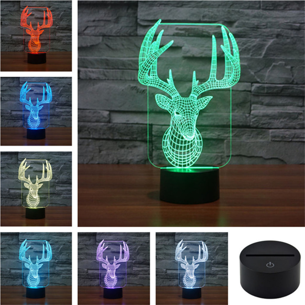 AUCD  Acrylic 3D Illusion LED Gradient Night Light Children Cute USB - Night Lights - Photo 3