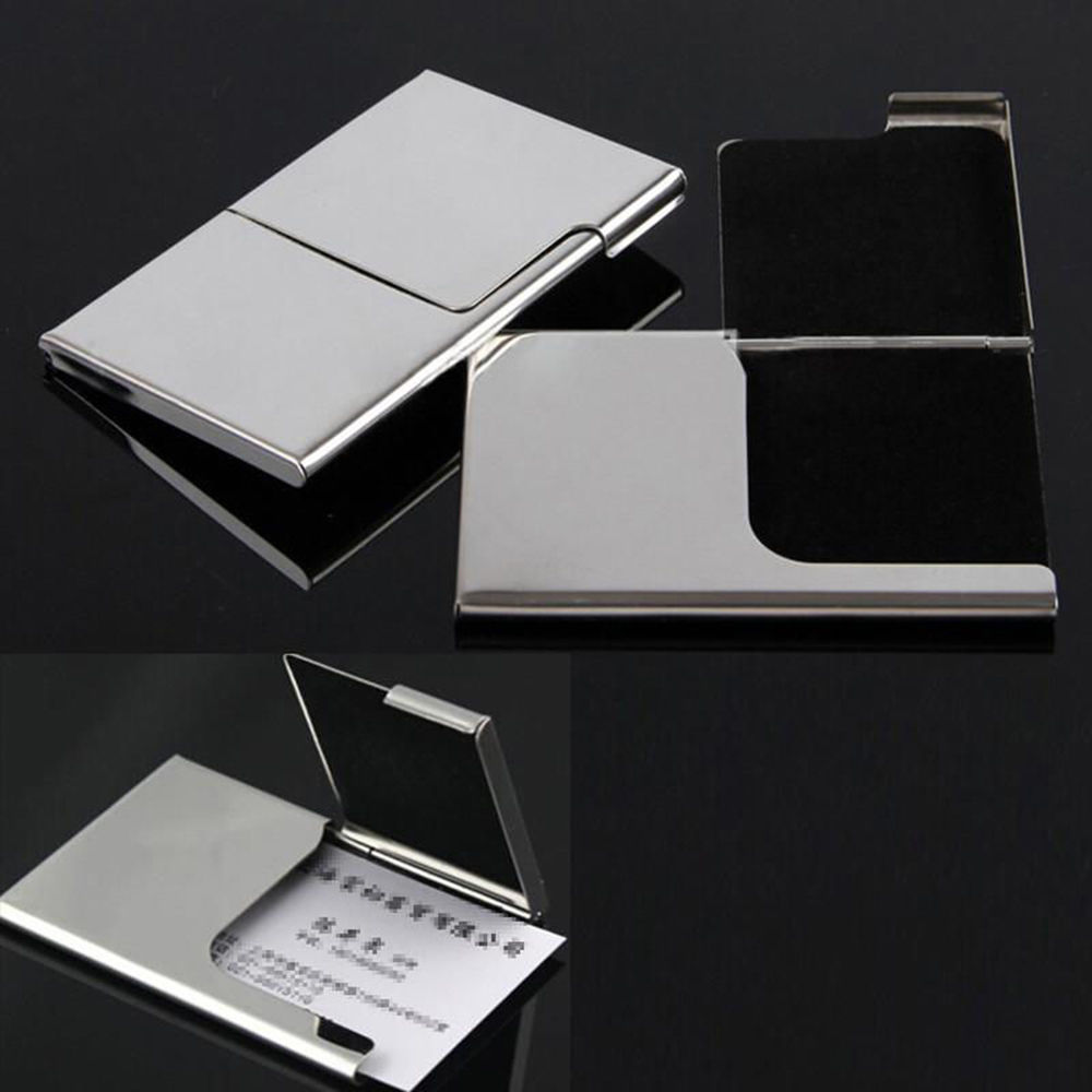 Stainless Steel Pocket Business Name Credit ID Card Holder Box Metal Box Case x1 fashion black stainless metal waterproof card holders metal credit card case business name card case bank id card holder