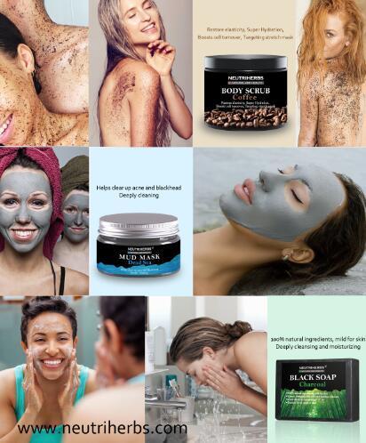 Bamboo Charcoal Whitening Soap Coconut Coffee Body Scrub Cream Acne Blackhead Remover Black Face Mask Skin Care 3 In 1 Set