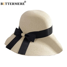 BUTTERMERE Women Sun Hat Casual Beige Straw Beach Foldable Elegant Bowknot Uv Protection Holiday Wide Brim Summer Bucket Cap