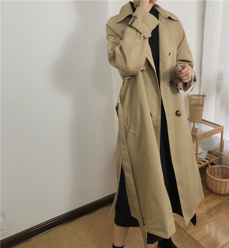 Spring And Autumn Women Fashion Brand Korea Style Waist Belt Loose Khaki Color Trench Female Casual Elegant Soft Long Coat Cloth 13