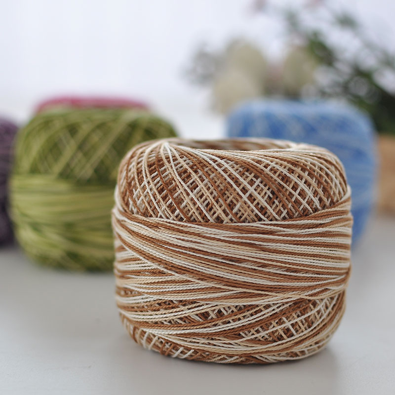 50g/ball 8# Dyeing 100%Cotton Lace Yarn Baby Cup Mat Cotton ThreadSoft and smooth Cool perspiration