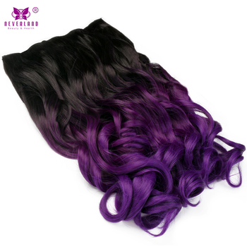 AIMEI 24inch 5Clips Wavy Synthetic Ombre Black to Purple Hair Gradient Hairpiece One Piece Clip in Hair Extensions