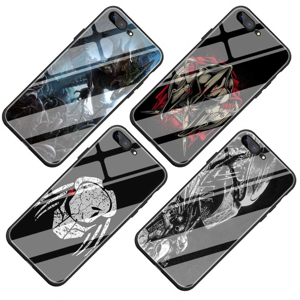 Predator Gehärtetem Glas Telefon Abdeckung Fall für iPhone 5 5S 6 6S Plus 7 8 Plus X XS XR 11 Pro Max