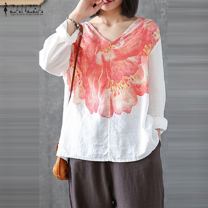 ZANZEA 8-24 Women Plus Size Floral Top Tee T Shirt Crew Neck Short Sleeve Blouse