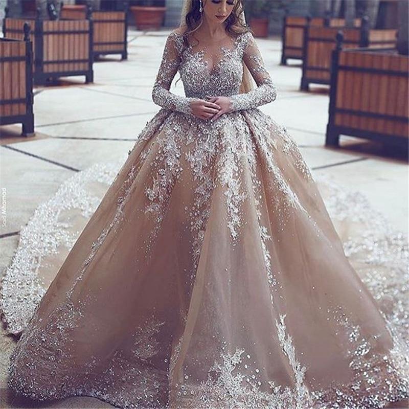 Newest Long Sleeve Civil Rustic Muslim Lace Rhinestone Wedding Bridal Dress Ball Gown Bride