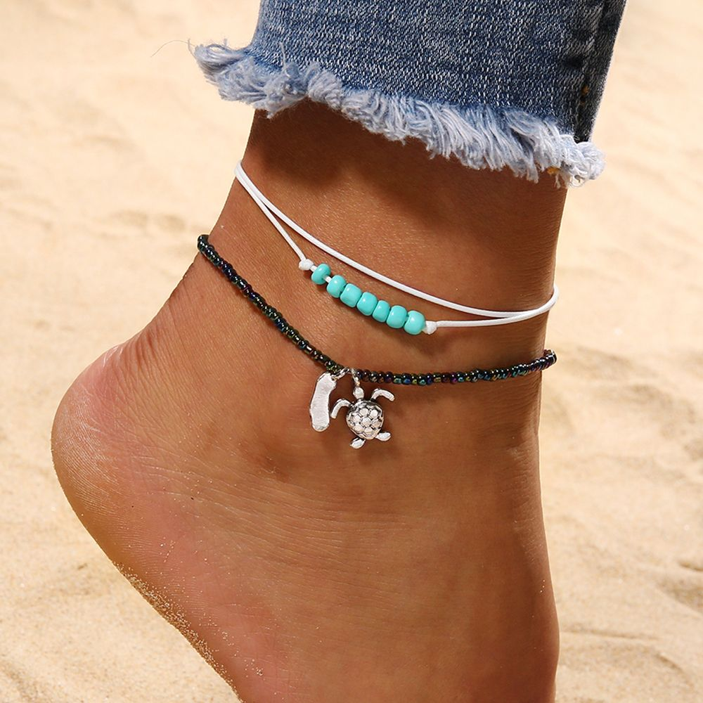 1 Pc Handgemachte Bohemian Frauen Schildkröte Anhänger Fußkettchen Strand Sommer Perlen Seil Kette Multilayer Fuß Armband Mode Schmuck