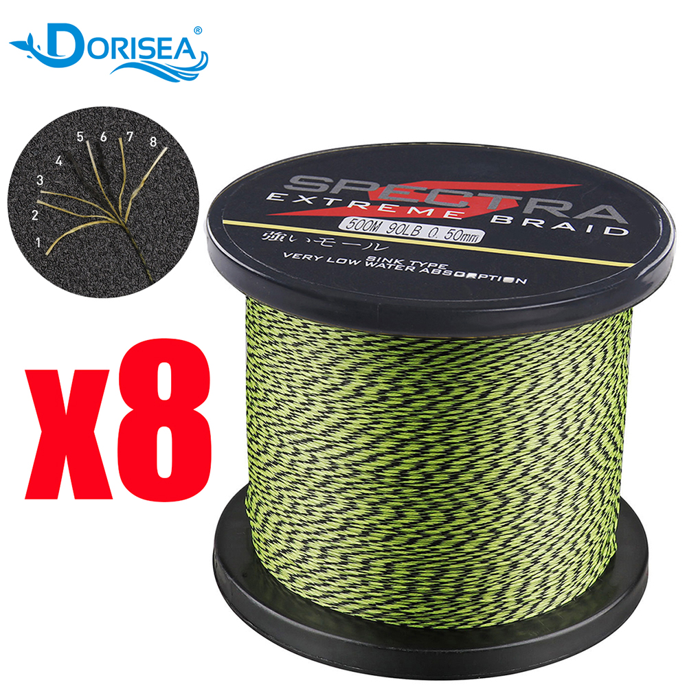 DORISEA 8 Strands 100M 300M 500M 1000M 1500M 2000M Spot Color PE Multifilame Braided Fishing Line 6LBs -300LBs Fishing Wire