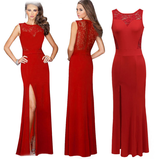 555d1a76b04e Women Red black Maxi dress lace Mermaid Tail sexy evening bodycon semi  sheer back hollow out Maxi dresses vestidos de festa