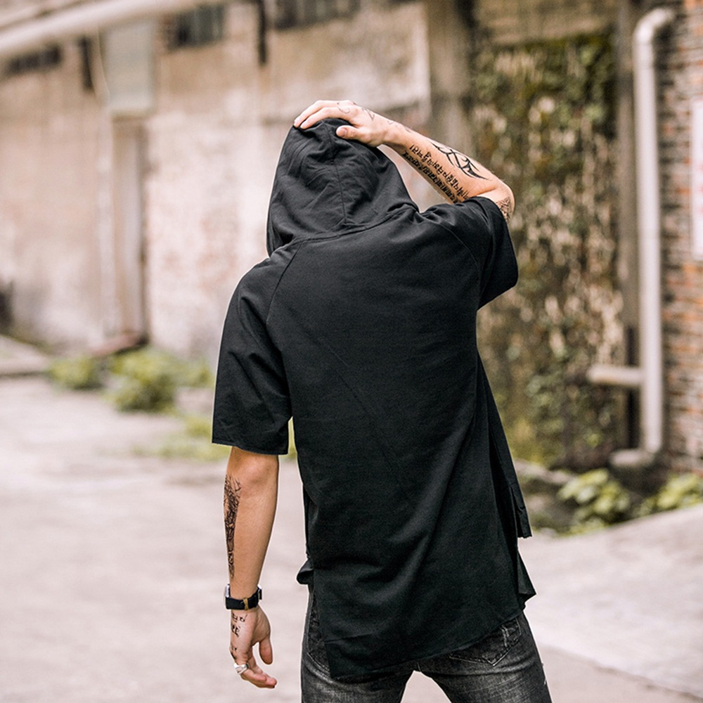 FUTUREOX 2018 moda de verano con capucha hombre camiseta honda manga - Ropa de hombre - foto 1