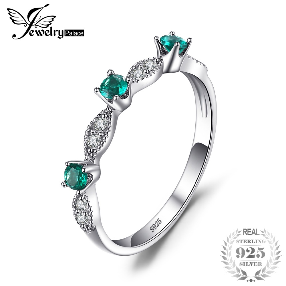 JewelryPalace 3 Stones Round Created Emerald Engagement Wedding Rings For Women Genuine 925 Sterling Silver Fashion Fine Jewelry jewelrypalace butterfly 3 7ct created emerald bangle bracelet 925 sterling silver fashion fashion jewelry for women 2018 new