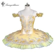 Wanita terkini pancake klasik gadis tutu balet bunga kuning emas peri pakaian profesional balet tutu peringkat BT9147