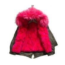 Парки натуральный настоящее рекс кролика меховая подкладка куртки с большой енот меховой воротник капюшоном отделка зима настоящая девушка мальчик ребенок kid'scoats