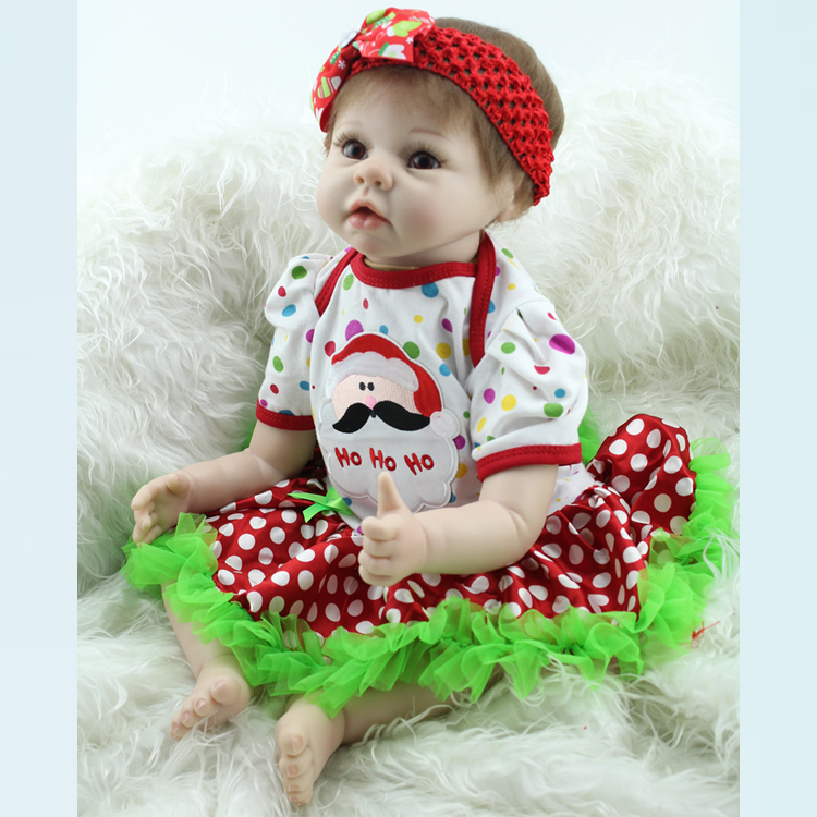 40e2a60e8c1ea 22Inch Silicone Reborn Doll Babies Soft Vinyl Life like Realistic Newborn  Dolls Fake Baby That Look Real Kids Toy Christmas Gift-in Dolls from Toys  ...
