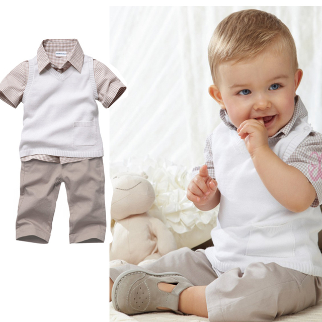 Free shipping 5sets/lot baby boys clothing set(shirt+vest+pants)casual child suits for summer dr0006-7