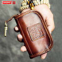 Men Genuine leather wallets retro large capacity handmade key bag card package first layer leather car tanned Coins Purses