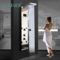 KEMAIDI Black Nickel Brushed Digital Display Shower Panel Column LED Rain Waterfall Shower 2 way Spa Jets Bath Shower Mixer