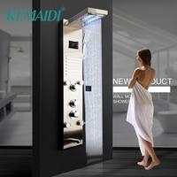 KEMAIDI Black Nickel Brushed Digital Display Shower Panel Column LED Rain Waterfall Shower 2 way Spa Jets Bath Shower Mixer