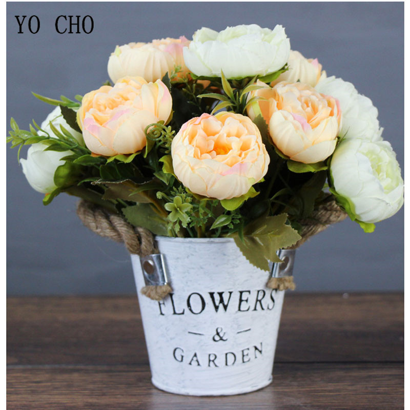 YO CHO Wedding Bouquet Bridesmaid Holding Bouquet 6 Heads Artificial Silk Peony Flower Arrangement Office Home Party Decorations