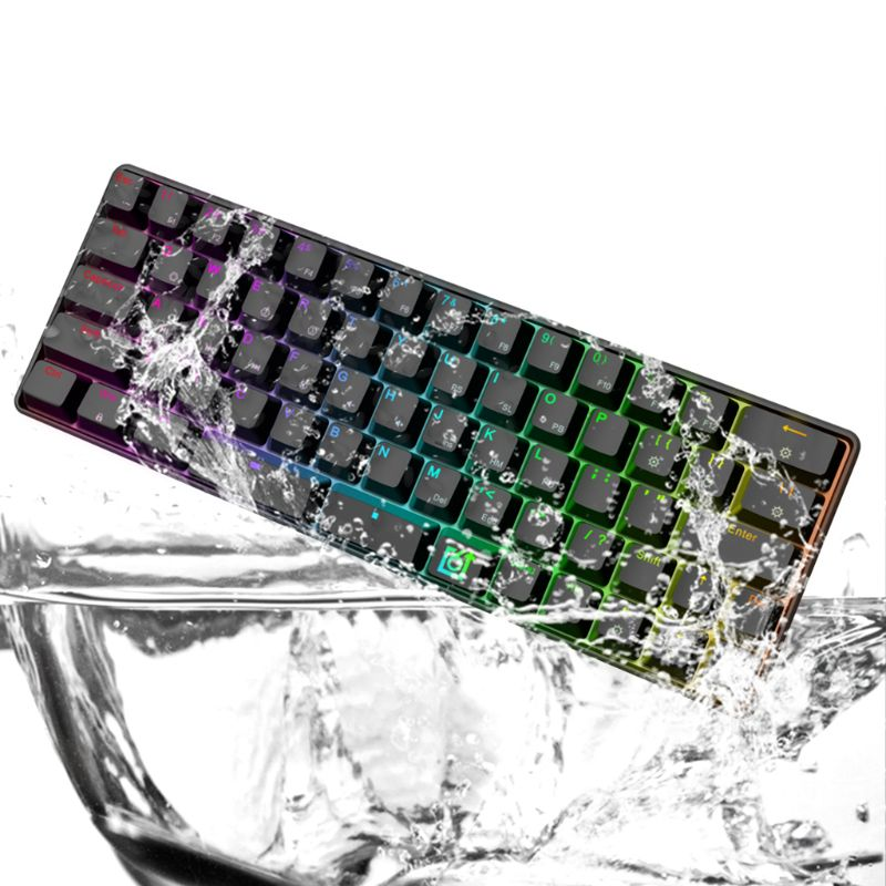 GK66 câblé Split-barre d'espace chaud-permutable Gateron commutateur optique Multi couleur RGB clavier de jeu mécanique éclairé