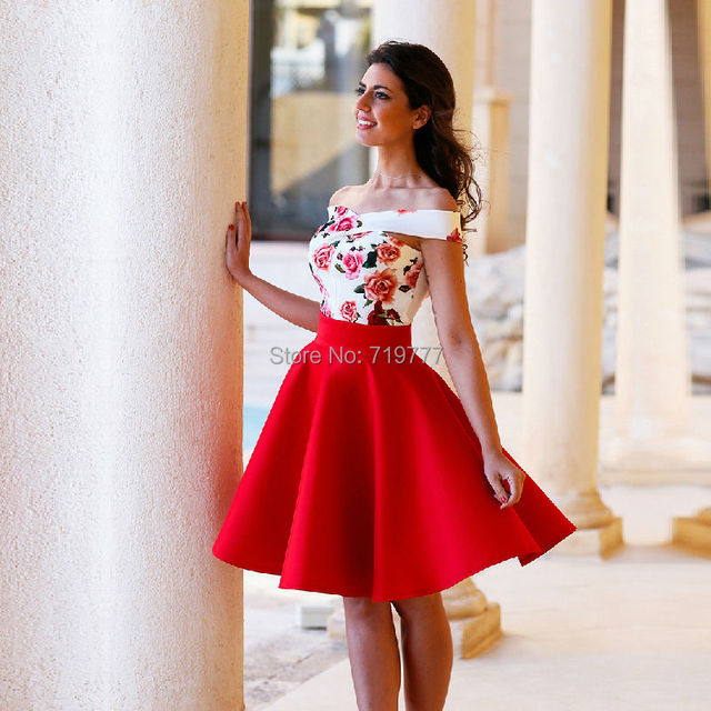 2016 Nice White And Red Homecoming Dresses Knee Length Fl Patterns Off The Shoulder Party