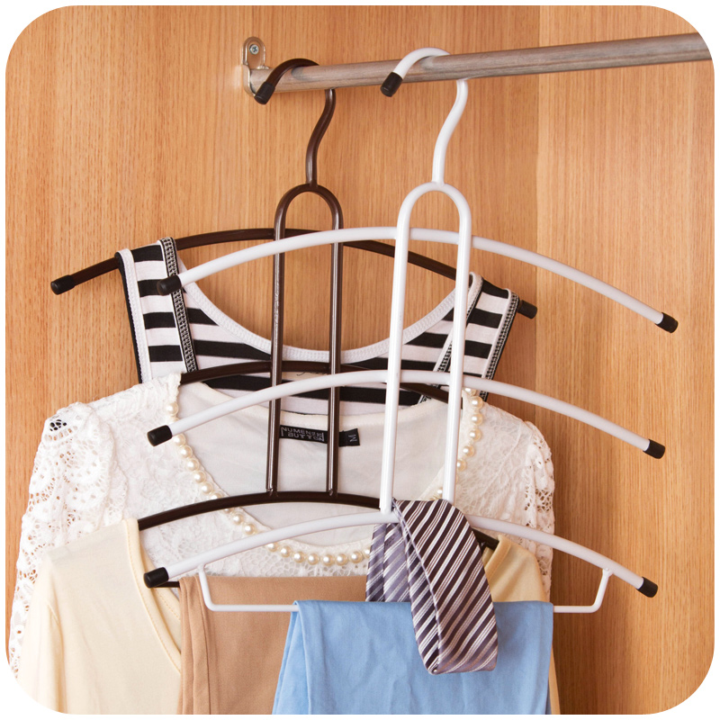 Iron Hangerlink Organize Closet Non Slip 3/4Layers Hanger Pants Scarf Hangers Holders Trousers Towels Clothes Hangers