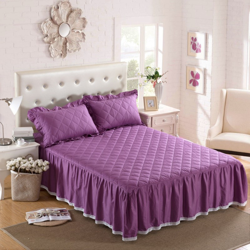 THICKEN winter quilted bed skirt 100% cotton Bed cover cotton pad - Home Textile - Photo 5
