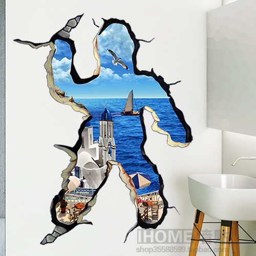 Free shipping  large 3D Aegean Sea Wall Stickers creative decals quote office home decor mural remvoable pegatinas pared 6905