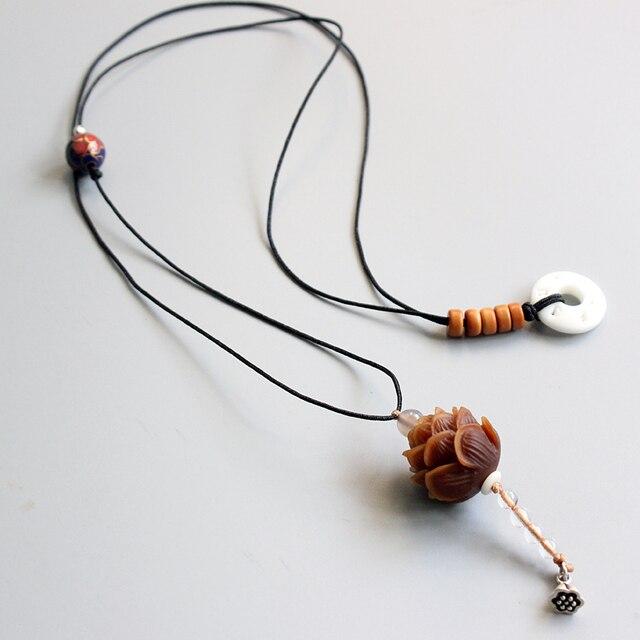 Comercio al por mayor de Semillas Bodhi Hechos A Mano Colgante de Flor de Loto Elegante Cuerda Collar Largo Para Las Mujeres Joyería Étnica regalo Único de la Navidad