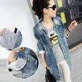 2014 calças de Brim Do Furo Do Vintage Denim Trincheira Outerwear das Mulheres Cardigan Longo Fino Casaco Manga Dobrável harajuku Do Punk 8719