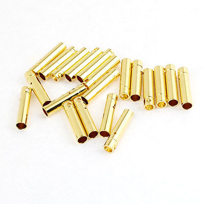 20 Pieces Gold Tone Metal Bullet Plug Female Connector 4mm gold tone 0 4 ohm 5