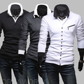 2012 Free shipping New Winter Unique oblique zipper slim Mens Long Sleeve sweater