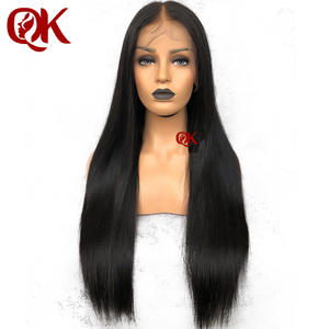 Wigs Queenking Hair Remy-Hair Straight Women Brazilian Silky Preplucked Full-Lace