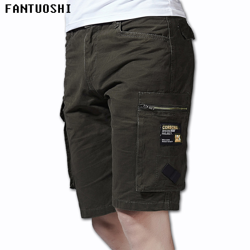 2018 New Men Cargo Shorts Cotton Casual Regular Short Pants Solid Summer Fashion Style Knee Length Plus Size 38 Shorts Men