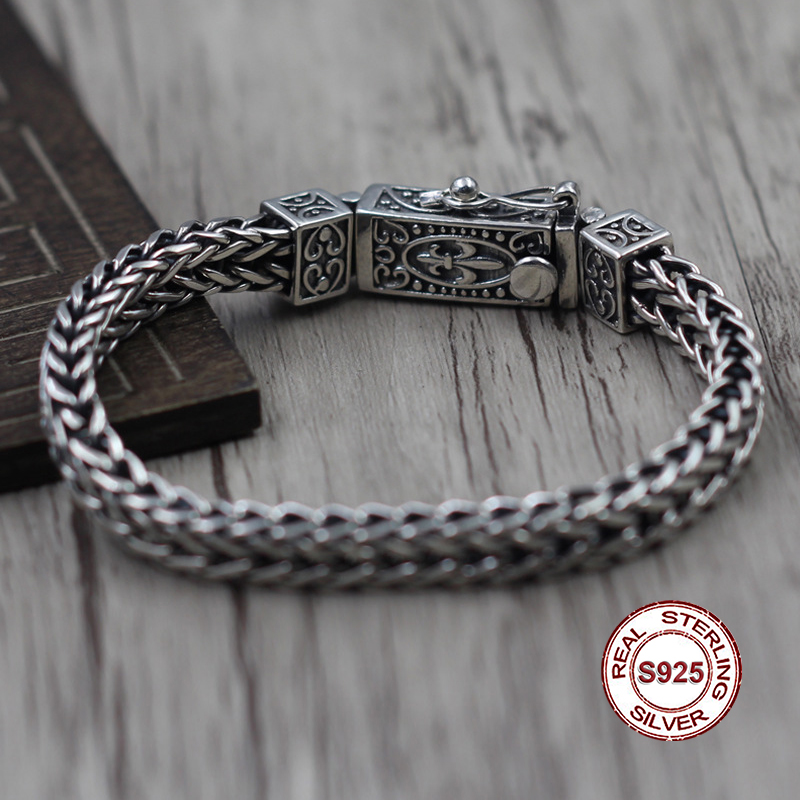 S925 Men's Sterling Silver Bracelet Retro jewelry The classic shape of the anchor pattern Generous concise Send a gift to love stylish floral anchor pattern square shape flax pillowcase without pillow inner