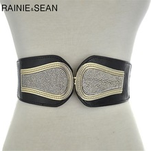 RAINIE SEAN Belts For Women Wide Rhinestone Belt Cummerbund Black Elastic Corset Wedding Fashion Female Belt For Dress