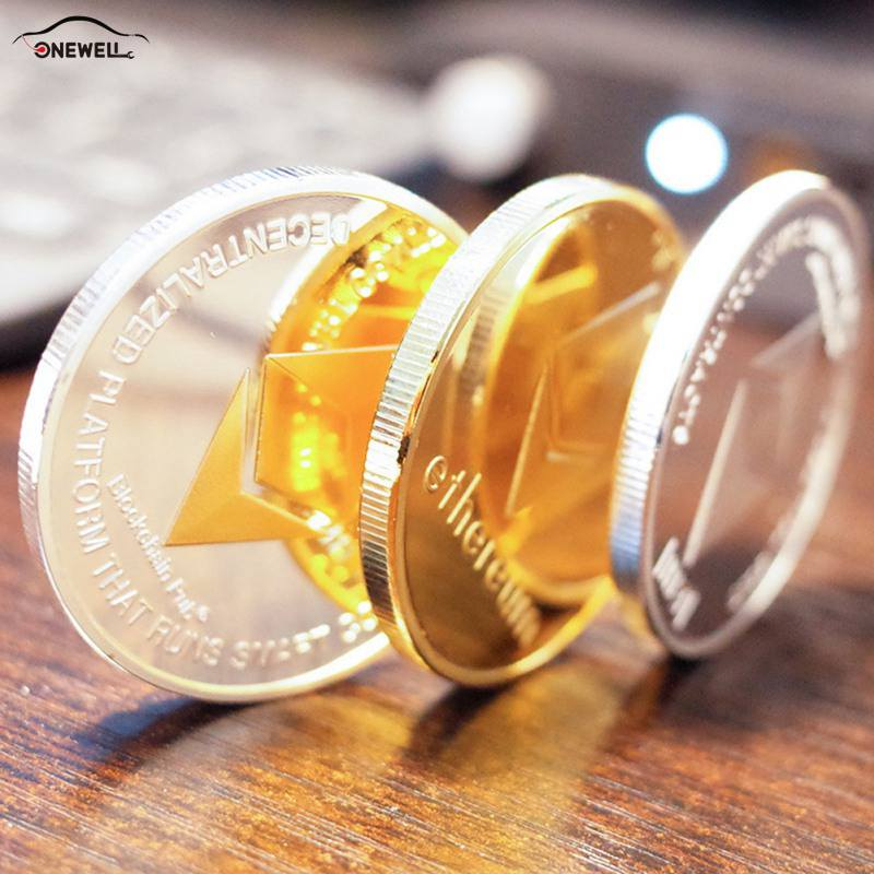 ONEWELL Coin Replica Collection Art Cld Imitation Metal Physical Gift Gilded ETH Ether Coins Car Accessories
