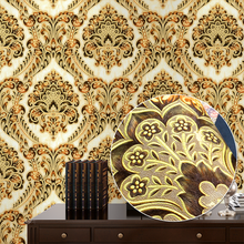 Blue, Red, Yellow Classic European Damask Luxury Elegant 3D Stereo Embossed Textured Wallpaper For Home Decor